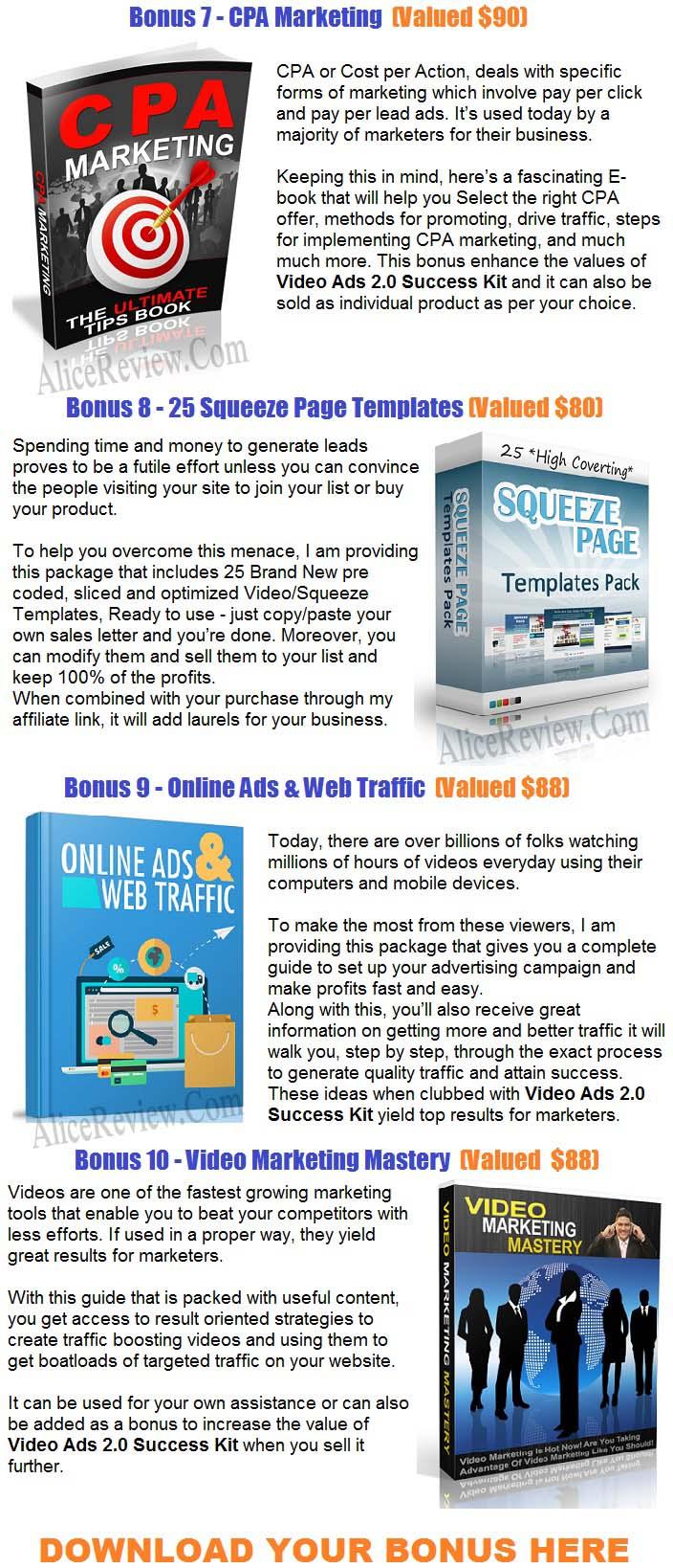 Video Ads 2.0 Success Kit PLR Bonuses
